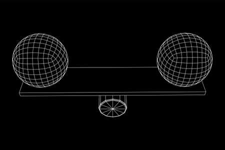 Simple seesaw scales weighing big and small abstract spheres. Balance, comparison and equality concept. Wireframe low poly mesh vector illustration Ilustrace
