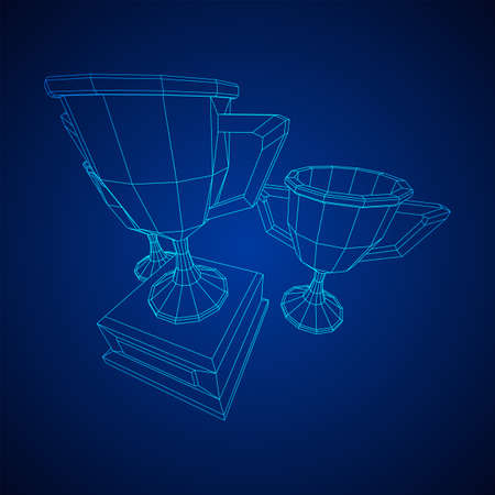 Winner trophy cup. Award concept. Wireframe low poly mesh vector illustration Ilustrace