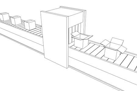 Conveyor belt section with pack boxes. Factory production equipment. Wireframe low poly mesh vector illustration