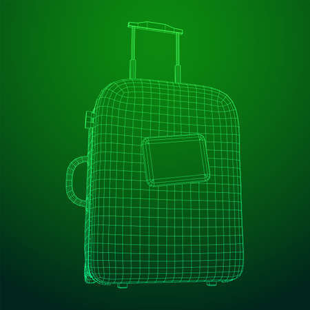 Suitcase tourist travel bag. Vacation luggage travelling trip concept. Wireframe low poly mesh vector illustration. 일러스트