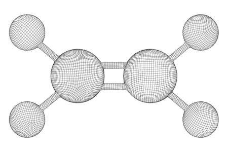 Ethylene ethene molecule. Used in production of polyethylene. Plant hormone. Wireframe low poly mesh vector illustration. Ilustración de vector