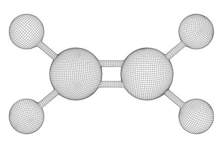 Ethylene ethene molecule. Used in production of polyethylene. Plant hormone. Wireframe low poly mesh vector illustration. Vectores
