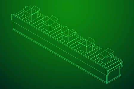 Conveyor belt section with open boxes. Factory production equipment. Wireframe low poly mesh vector illustration Illustration