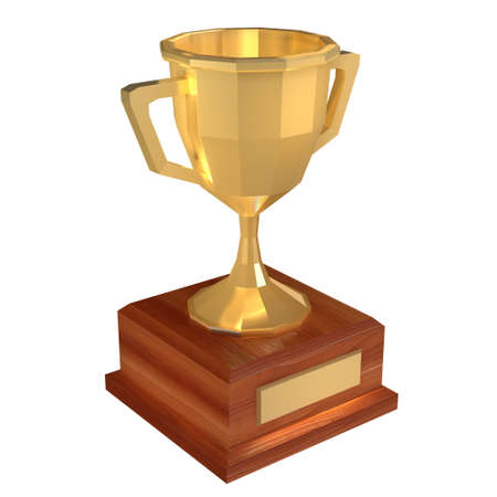 Winner trophy gold low poly cup. Award concept. 3d render illustration isolated on white background.