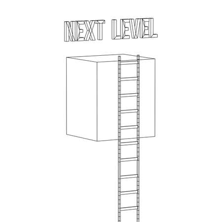 Next level with high giant box wall towards the sky with clouds and tall ladders. Pass challenge to reach the goal concept. Wireframe low poly mesh vector illustration. Stock Illustratie