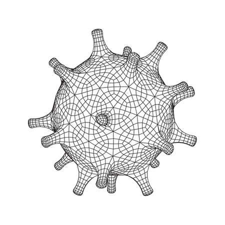 Corona Virus virion of Coronavirus. Covid virus that caused epidemic of pneumonia in China. Wireframe low poly mesh vector illustration. 写真素材 - 142078368