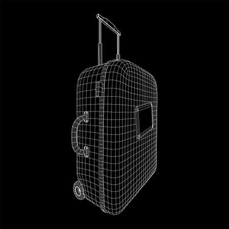 Suitcase tourist travel bag. Vacation luggage travelling trip concept. Wireframe low poly mesh vector illustration. Ilustração