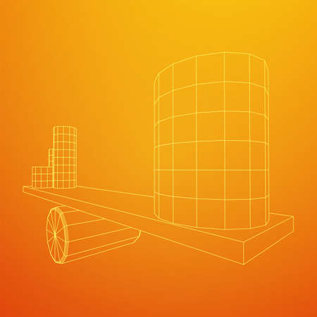 Simple seesaw scales weighing big and small abstract cylinders. Balance, comparison and equality concept. Wireframe low poly mesh vector illustration