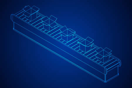 Conveyor belt section with open boxes. Factory production equipment. Wireframe low poly mesh vector illustration