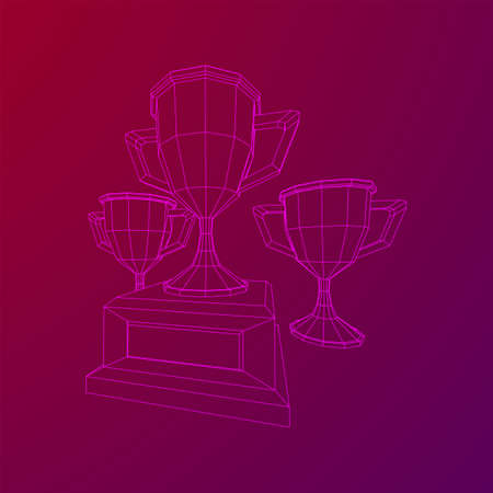 Winner trophy cup. Award concept. Wireframe low poly mesh vector illustration