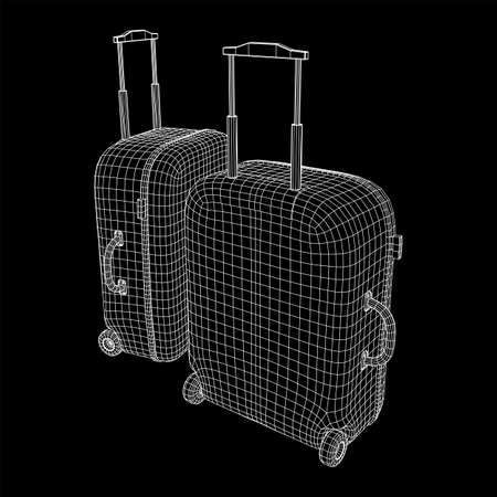 Suitcase tourist travel bag. Vacation luggage travelling trip concept. Wireframe low poly mesh vector illustration. Çizim
