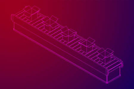 Conveyor belt section with open boxes. Factory production equipment. Wireframe low poly mesh vector illustration  イラスト・ベクター素材