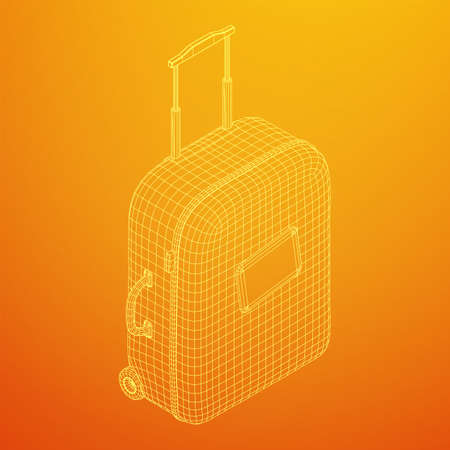 Suitcase tourist travel bag. Vacation luggage travelling trip concept. Wireframe low poly mesh vector illustration. Ilustrace