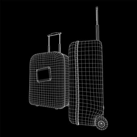 Suitcase tourist travel bag. Vacation luggage travelling trip concept. Wireframe low poly mesh vector illustration. Reklamní fotografie - 143437022