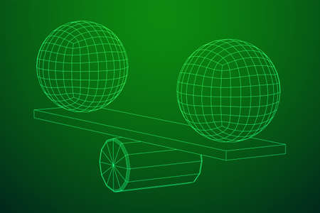 Simple seesaw scales weighing big and small abstract spheres. Balance, comparison and equality concept. Wireframe low poly mesh vector illustration Ilustração