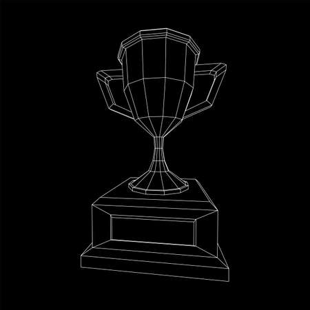 Winner trophy cup. Award concept. Wireframe low poly mesh vector illustration  イラスト・ベクター素材