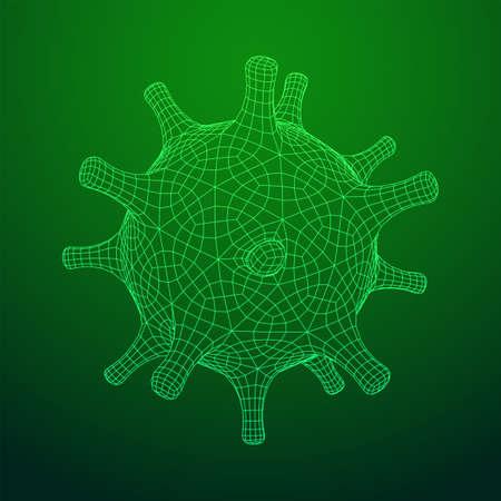 Corona Virus virion of Coronavirus. Covid virus that caused epidemic of pneumonia in China. Wireframe low poly mesh vector illustration.