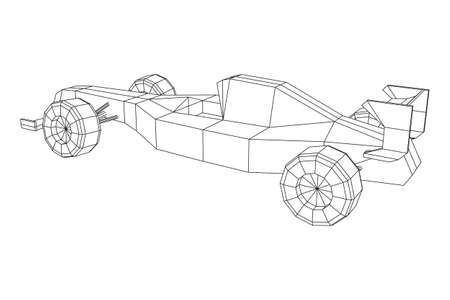 Fast motor sport racing car speed concept. Wireframe low poly mesh vector illustration.