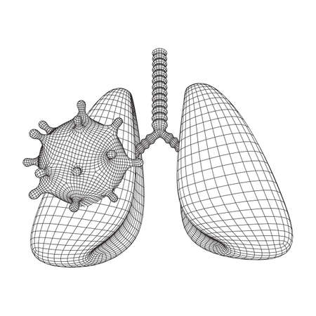 Corona Virus and Lungs with trachea bronchi internal organ human. Covid virus pulmonology medicine science concept. Wireframe low poly mesh vector illustration. 向量圖像