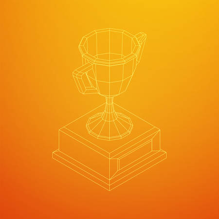 Winner trophy cup. Award concept. Wireframe low poly mesh vector illustration 向量圖像