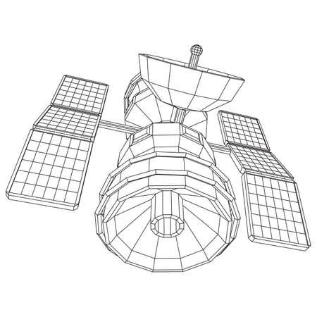 Space station communications satellite. Wireframe low poly mesh vector illustration. Vektoros illusztráció