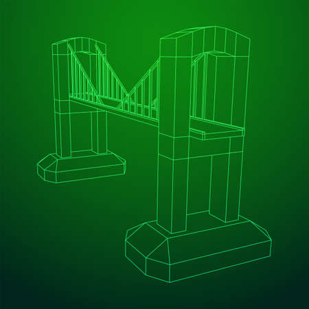 Bridge connection structure. Wireframe low poly mesh vector illustration.