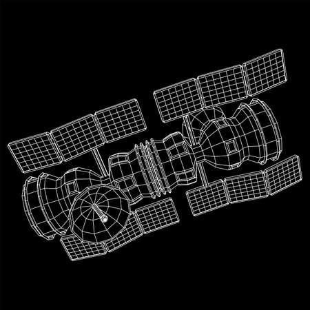 Space station communications satellite. Wireframe low poly mesh vector illustration. Reklamní fotografie - 144447703