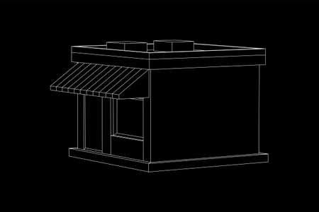 Shop market store. Small business concept. Wireframe low poly mesh vector illustration. Illustration