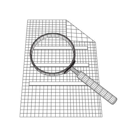 Document file with magnifying glass. Business search concept. Wireframe low poly mesh vector illustration