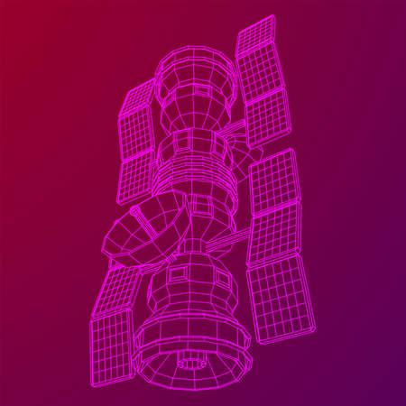 Space station communications satellite. Wireframe low poly mesh vector illustration. Reklamní fotografie - 144907638