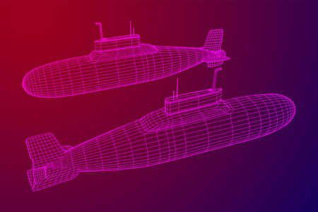 Military atomic submarine underwater boat. Wireframe low poly mesh vector illustration