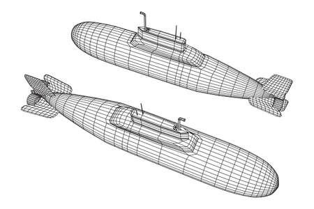 Military atomic submarine underwater boat. Wireframe low poly mesh vector illustration Vektorové ilustrace