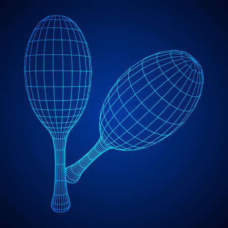 Pair of maracas. Connection structure. Vector low poly wireframe mesh illustration Ilustrace
