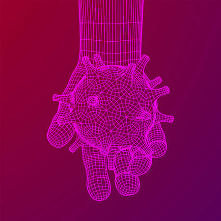 Human Arm Hand with Corona Virus virion of Coronavirus. Connection structure. Vector low poly wireframe mesh illustration