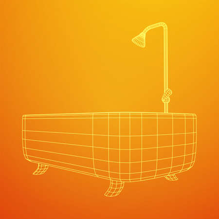 Bath tub with legs and shower. Sanitary concept. Wireframe low poly mesh vector illustration. Фото со стока - 146115171