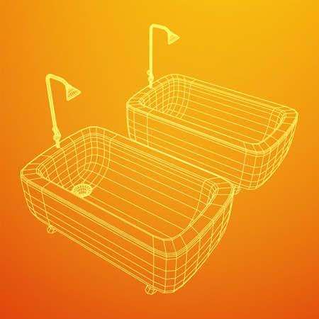 Bathtub shower. Sanitary concept. Wireframe low poly mesh vector illustration. Фото со стока - 146132546