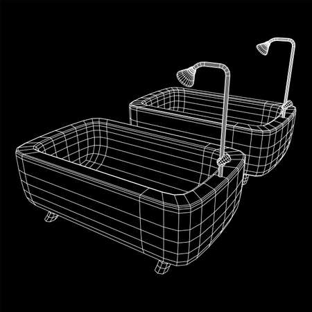 Bathtub with legs and shower. Sanitary concept. Wireframe low poly mesh vector illustration. Фото со стока - 146225560