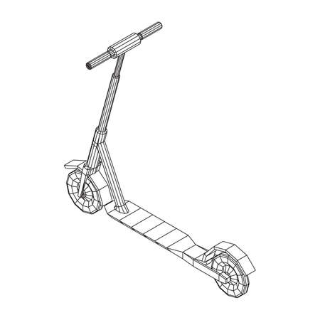 Roller scooter balance kick push bike. Eco alternative city transport. Wireframe low poly mesh vector illustration. Vetores