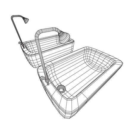 Bath tub with legs and shower. Sanitary concept. Wireframe low poly mesh vector illustration.