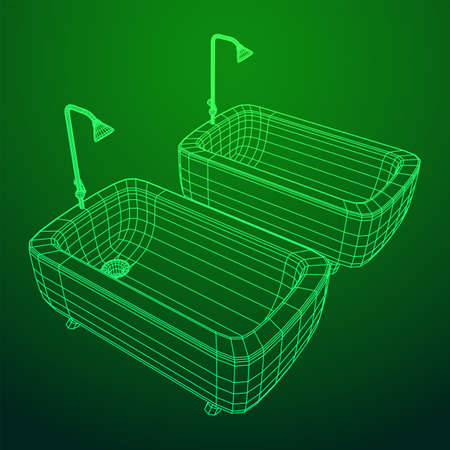 Bathtub with legs and shower. Sanitary concept. Wireframe low poly mesh vector illustration. Фото со стока - 146685531