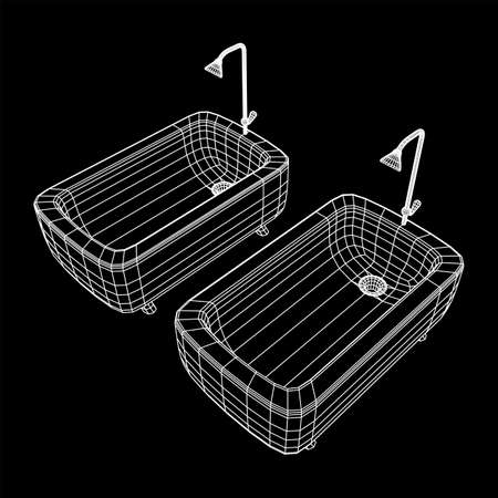 Bathtub with legs and shower. Sanitary concept. Wireframe low poly mesh vector illustration. Иллюстрация