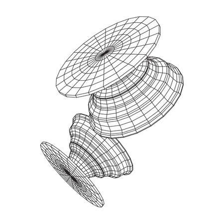 Pop Socket Holder for Smartphone. Wireframe low poly mesh vector illustration. Vetores