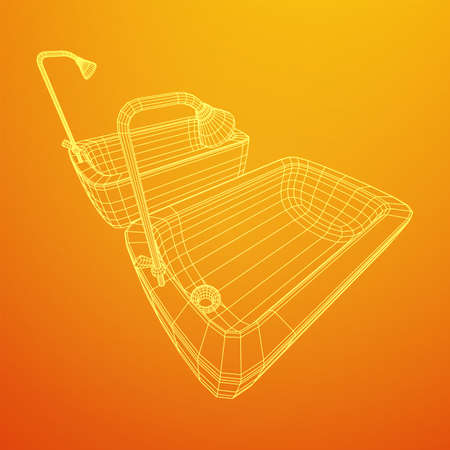 Bathtub with legs and shower. Sanitary concept. Wireframe low poly mesh vector illustration. Фото со стока - 146996962