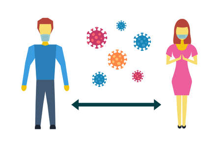 Social distancing to protect from COVID-19 coronavirus outbreak spreading concept. Man woman keep distance away. Virus pathogens. Vector illustration