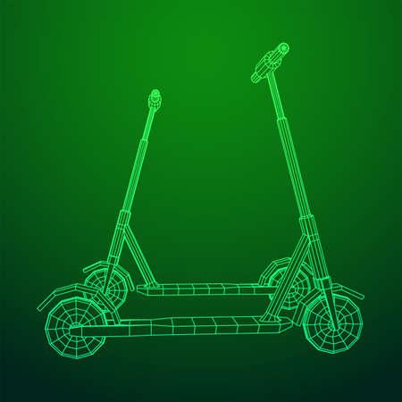 Roller scooter balance kick push bike. Eco alternative city transport. Wireframe low poly mesh vector illustration.