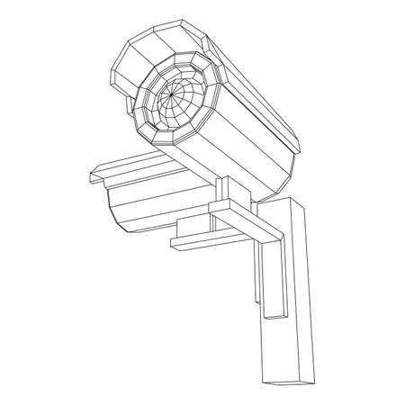 Modern video camera. Webcam viewing area. Safety, security concept. Wireframe low poly mesh vector illustration.
