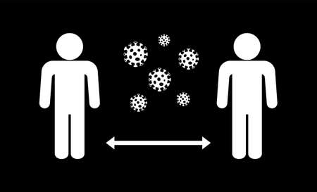 Social distancing to protect from COVID-19 coronavirus outbreak spreading concept. People keep distance away. Virus pathogens. Vector illustration