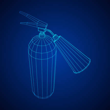 Fire extinguisher. Wireframe low poly mesh vector illustration.