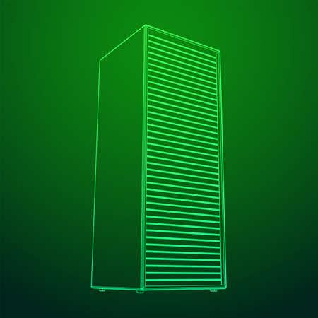 Data center storage room object. Hardware equipment telecommunication server. Computer database tower. Internet industry cluster. Wireframe low poly mesh 3d render illustration