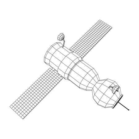 Space station communications satellite. Wireframe low poly mesh vector illustration. Reklamní fotografie - 148985524